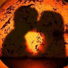Valentine's Day Kissing Couple in Shadow
